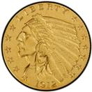 UNITED STATES Gold Coin 1912 2 1/2 DOLLARS